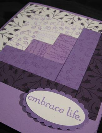 Embrace Life Log Cabin Quilt Block card a