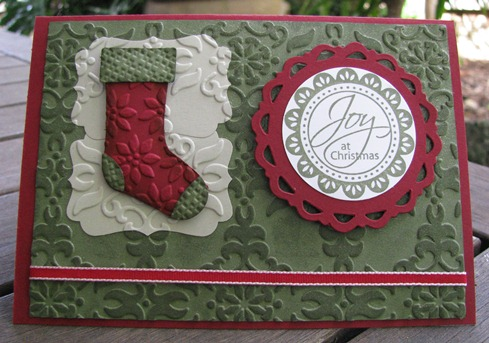Stitched Stocking embossed card