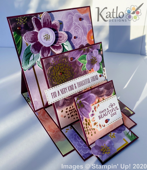 Gorgeous Posies Stampin' Up Triple Easel Card (2)