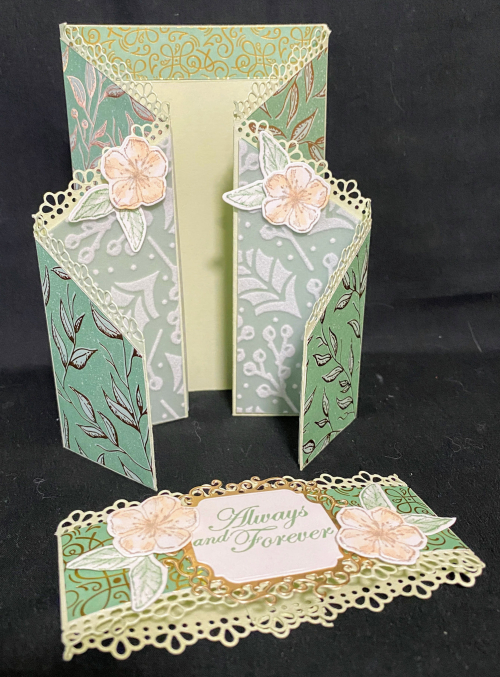 Forever Blossoms Mint Macaron Double Zig Zag Card Stampin' Up! using Ornate Borders, Ornate Labels, Gilded Autumn Designer Series Paper