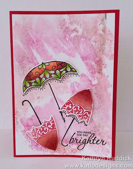 Pretty Parasol stamp set Stampin' Up! card in Melon Mambo for the Colour Creations Showcase using Stampin' Blends